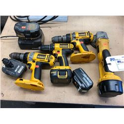 LOT OF DEWALT CORDLESS TOOLS INCLUDES ANGLE GRINDER, 3 DRILLS & A CHARGER