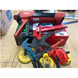 LOT OF ASSORTED TOOLS INCLUDING HILTI CAULKING GUN, 3 RIVET GUNS & 4 PLATE HANDLERS