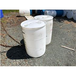 APPROX 100 PLASTIC BARRELS WITH LIDS