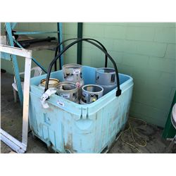 PROPANE BIN WITH PROTECTIVE RAIL