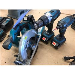 LOT OF MAKITA CORDLESS TOOLS INCLUDES CIRCULAR SAW, 2 DRILLS & A CHARGER