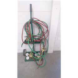 OXY ACETYLENE TORCH WITH HOSE AND CART
