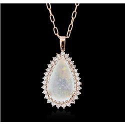 14KT Rose Gold 6.23 ctw Opal and Diamond Pendant With Chain
