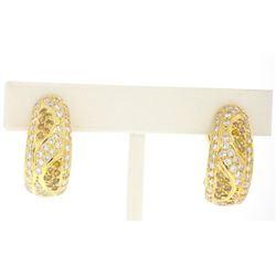 18k Yellow Gold 1.74 ctw F & Fancy Yellow VS1 Diamond Cuff Earrings
