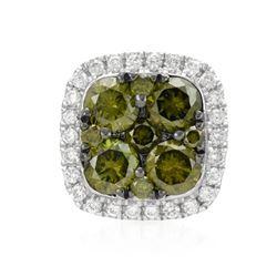 14k White Gold 0.46CTW Diamond and Green Dia Pendant, (SI/H)