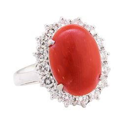 5.10 ctw Red Coral and Diamond Ring - 14KT White Gold