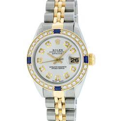 Rolex Ladies 2 Tone Silver Diamond & Sapphire Datejust Wristwatch