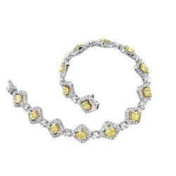 18k Two Tone Gold 8.66CTW Diamond Bracelet, (VS1-SI1/SI1/VS1-VS2/G-H/G /Fancy Ye