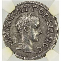 ROMAN EMPIRE: CAPPADOCIA: Gordian III, 238-244 AD, AR drachm, Caesarea. NGC AU