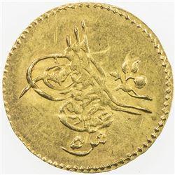 EGYPT: Abdul Aziz, 1861-1876, AV 5 qirsh (0.46g), Misr, AH1277 year 9. EF