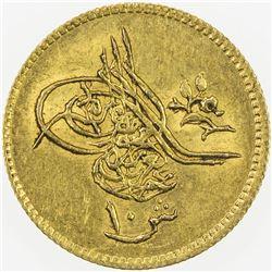 EGYPT: Abdul Aziz, 1861-1876, AV 10 qirsh (0.88g), Misr, AH1277 year 10. AU