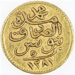 TUNIS: Muhammad al-Sadiq Bey, 1859-1882, AV 5 piastres (0.93g), Tunis, AH1281. VF