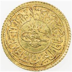 TURKEY: Mahmud II, 1808-1839, AV rumi altin (2.42g), Kostantiniye, AH1223 year 12. EF