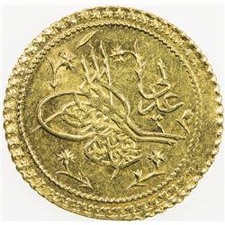 TURKEY: Mahmud II, 1808-1839, AV 1/2 el-aliye surre altin (0.82g), Kostantiniye, AH1223 year 15. UNC