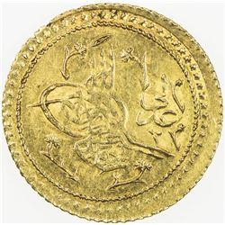 TURKEY: Mahmud II, 1808-1839, AV el-aliye surre altin (1.60g), Kostantiniye, AH1223 year 15. AU
