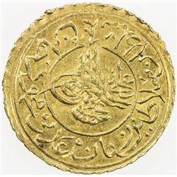 TURKEY: Mahmud II, 1808-1839, AV 1/4 new adli (0.43g), Kostantiniye, AH1223 year 19. UNC