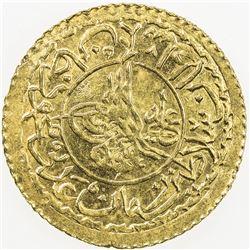 TURKEY: Mahmud II, 1808-1839, AV new adli (1.62g), Kostantiniye, AH1223 year 19. UNC