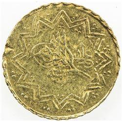 TURKEY: Mahmud II, 1808-1839, AV 1/4 new altin (0.31g), Kostantiniye, AH1223 year 26. EF