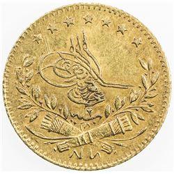 TURKEY: Abdul Aziz, 1861-1876, AV 25 kurush (1.76g), Kostantiniye, AH1277 year 2. EF-AU
