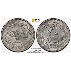 TURKEY: Mehmet V, 1909-1918, 20 para, Kostantiniye, AH1327 year 3. PCGS MS63