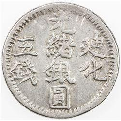 CHINA: SINKIANG: Kuang Hsu, 1875-1908, AR 5 miscals (17.16g), Urumchi, AH1322. VF-EF