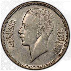 IRAQ: Ghazi I, 1933-1939, AR 20 fils, 1938/AH1357. PCGS AU55