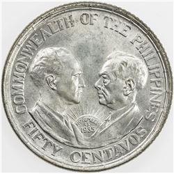 PHILIPPINES: AR 50 centavos, 1936. UNC