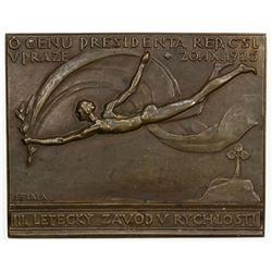 CZECHOSLOVAKIA: AE plaque (113.8g), 1925. EF