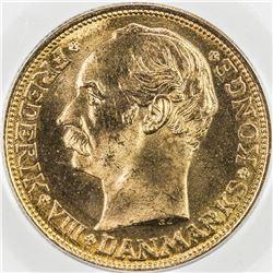 DENMARK: Frederik VIII, 1906-1912, AV 20 francs, 1915. PCGS MS66