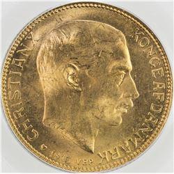 DENMARK: Christian X, 1912-1947, AV 20 francs, 1915. PCGS MS65