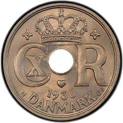 DENMARK: Christian X, 1912-1947, 25 ore, 1936. PCGS MS64