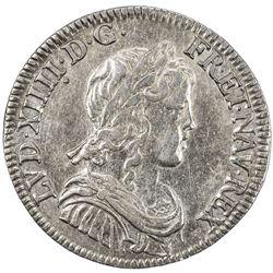 FRANCE: Louis XIV, 1643-1715, AR 1/4 ecu, 1647-A