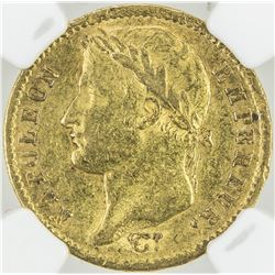 FRANCE: Napoleon I, Emperor, 1804-1815, AV 20 francs, 1811-A. NGC AU55