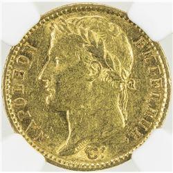 FRANCE: Napoleon I, Emperor, 1804-1815, AV 20 francs, 1812-A. NGC AU55