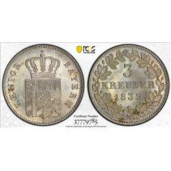 BAVARIA: Ludwig I, 1825-1848, AR 3 kreuzer, 1839. PCGS MS66