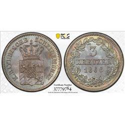 BAVARIA: Ludwig II, 1864-1886, AR 3 kreuzer, 1866/5. PCGS MS66