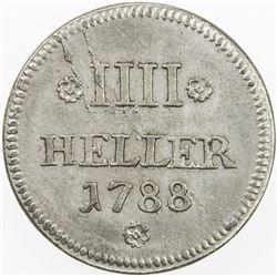 COLOGNE (CITY): uniface 4 heller (9.70g), 1788. AU