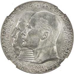 HESSE-DARMSTADT: Ernst Ludwig, 1892-1918, AR 5 mark, 1904. NGC MS62