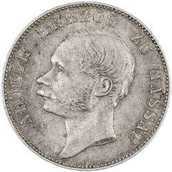 NASSAU: Adolph, 1839-1866, AR thaler, 1863. EF