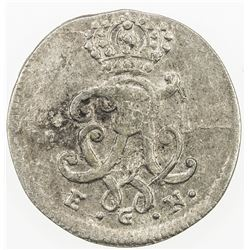 PRUSSIA: Friedrich Wilhelm I, 1713-1740, AR 1/48 thaler, 1748. AU