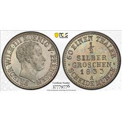 PRUSSIA: Friedrich Wilhelm III, 1797-1840, AR 1/2 groschen, 1833-A. PCGS MS66