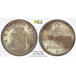 SAXONY: August II, 1836-1854, AR 2 groschen, 1852. PCGS MS66