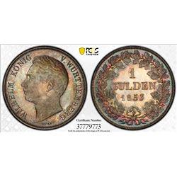 WURTTEMBERG: Wilhelm I, 1816-1864, AR gulden, 1853. PCGS MS65
