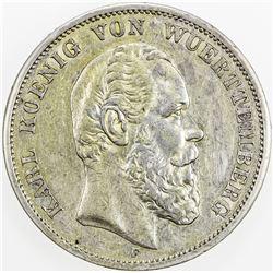 WURTTEMBERG: Karl I, 1864-1891, AR 5 mark, 1875-F. VF-EF