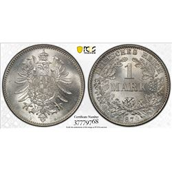 GERMANY: Kaiserreich, AR mark, 1874-G. PCGS MS65