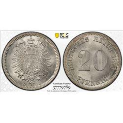 GERMANY: Kaiserreich, AR 20 pfennig, 1876-D. PCGS MS65