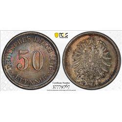 GERMANY: Kaiserreich, AR 50 pfennig, 1876-C. PCGS MS64