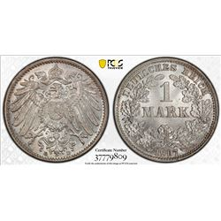 GERMANY: Kaiserreich, AR mark, 1907-D. PCGS MS64