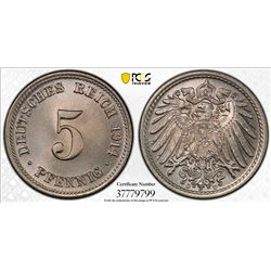 GERMANY: Kaiserreich, 5 pfennig, 1914-D. PCGS MS66