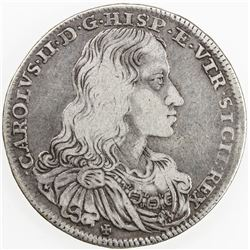 NAPLES: Carlo II, 1674-1700, AR 1/2 ducato, 1684. VG-F